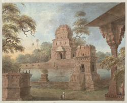 The unfinished temple of Chait Singh at Ramnagar across its tank